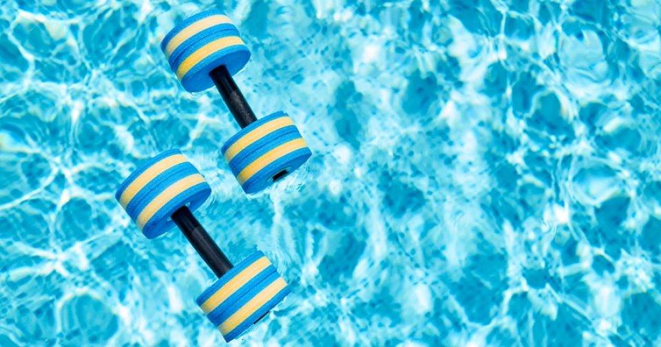 fitness-pool-dumbbells